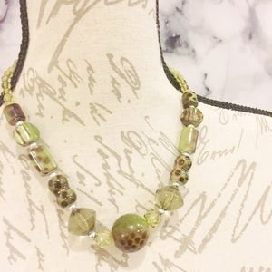 Olive Green Glass Polka Dot Beaded Necklace